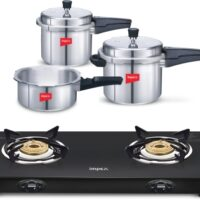 IMPEX Gas Stove Combo-2 L, 3 L, 5 L Induction Bottom Pressure Cooker + Induction Bottom Cookware Set