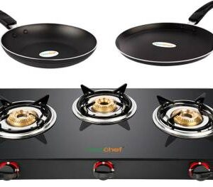 Greenchef Alpha Gas stove combo – Smart 3 Burner Glass stove + Flat Tawa 250mm + Fry Pan 240mm
