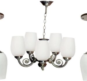 VAGalleryKing Multicolor Glass Decorative 5Lite Jhumar With 2 Hanging Light Combo Pack Chandelier Ceiling Lamp