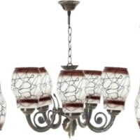 Multicolor Glass Decorative 5Lite Jhumar With 2 Hanging Light Combo Pack Chandelier Ceiling Lamp