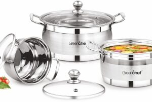 Greenchef Stainless steel Cook and serve 3 piece Gift set Induction Bottom Cookware Set