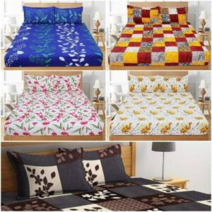 Luxury Trends 144 TC Cotton Double King Printed Bedsheet  (Pack of 5, Multicolor)