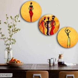 Wooden Wall Hanging Plates (Set of 3)
