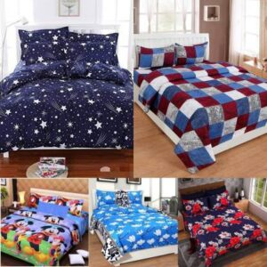La Roze Home Furnishings 120 TC Cotton Double King Printed Bedsheet  (Pack of 5, Multicolor)