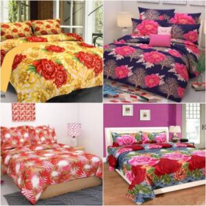 Nspire Luxuries 160 TC Cotton Double Floral Bedsheet  (Pack of 4, Multicolor)