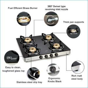 GLEN 4 Burner Glass Top LPG Stove 1043 GT EX with Fuel Efficient Brass Burners Glass Manual Gas Stove