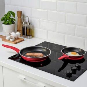 IKEA Frying Pan, Set of 2, Red Fry Pan 20 cm, 26 cm diameter 2.5 L capacity