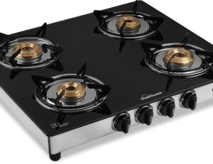 SUNFLAME Diamond SS Glass, Stainless Steel Manual Gas Stove