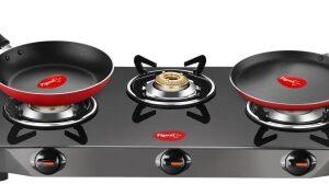 Pigeon Gas Stove Combo – Brunet 3 Burner Gas Cooktop + Flat tawa 250 + Fry Pan 240 Stainless Steel Manual Gas Stove