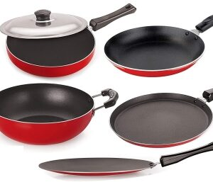 NIRLON Non-Stick Aluminium Cookware Set, 6-Pieces, Red & Black Cookware Set