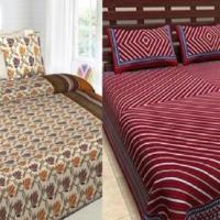 100% Cotton Double Bedsheet 2 Pc Combo
