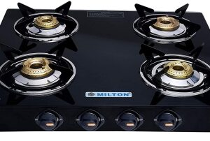 MILTON Premium Manual Ignition LPG Stove – (ISI Certified, Door Step Service) Black Glass Manual Gas Stove