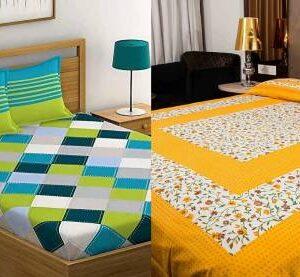pushti enterprises 144 TC Cotton Double Printed Bedsheet  (Pack of 2, Yellow, Green)