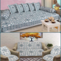 Cotton Diwan Set and Sofa Set Cover