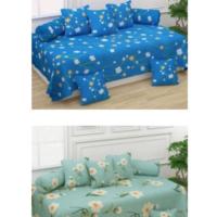 Polycotton 16 Pcs Diwan Set Combo (2 Diwan bedsheet+10 Cushion cover+4 bolster cover)