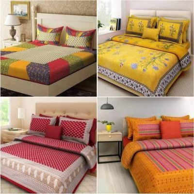 DHAKAD 104 TC Cotton Double King Floral Bedsheet