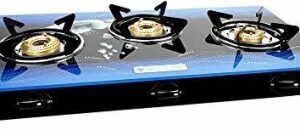 MILTON Premium Manual Ignition LPG Stove – (ISI Certified, Door Step Service) Blue Glass Manual Gas Stove with 1 Year Warranty