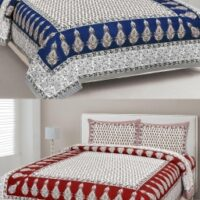 SOMYA GEMS 190 TC Cotton Double Jaipuri Prints Bedsheet
