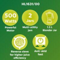 PHILIPS HL1631 500 W Juicer Mixer Grinder (2 Jars, Blue)