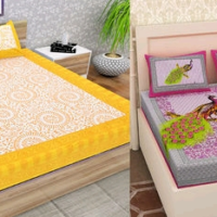 Beautiful Yellow and Pink King Size Cotton Double Bedsheet