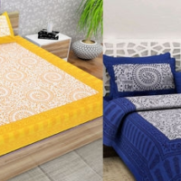 Beautiful Yellow and Blue King Size Cotton Double Bedsheet